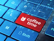 Time concept: Alarm Clock and Coffee Time on computer keyboard