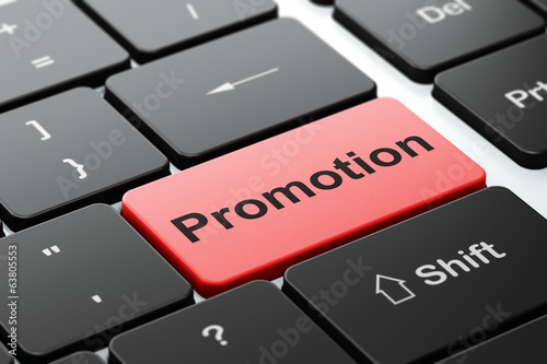 Marketing concept: Promotion on computer keyboard background