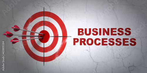 Finance concept: target and Business Processes on wall