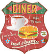 Vintage diner sign, road sign vector