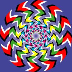 Optical illusion of rotation with optical illusion effect