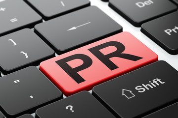 Advertising concept: PR on computer keyboard background