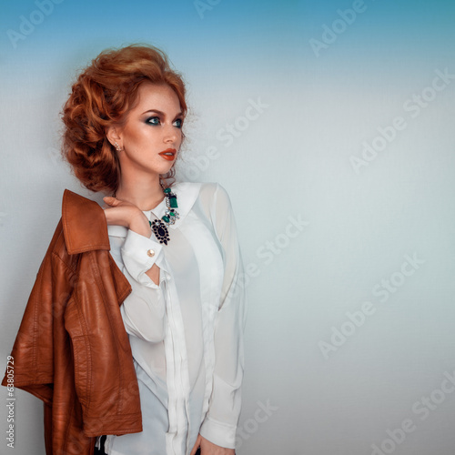 Square photo of beauty woman with leather brown jacket