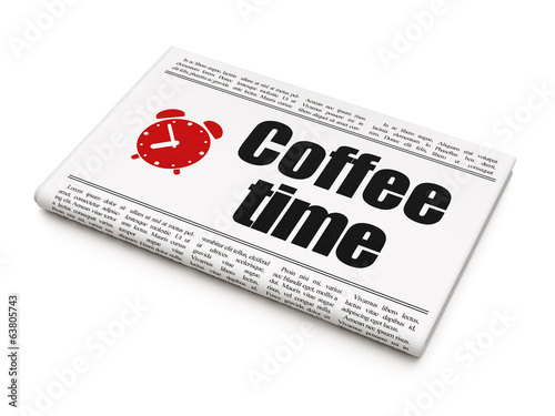 Timeline concept: newspaper with Coffee Time and Alarm Clock
