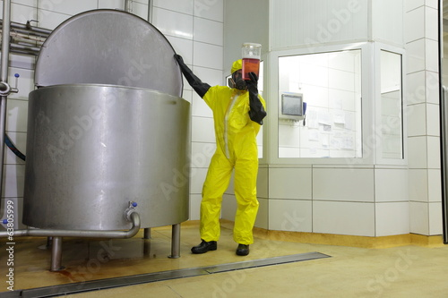 canvas print picture checking sample at large industrial tank in plant