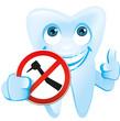 Zahn zeigt Schild Zahnarztbohrer verboten