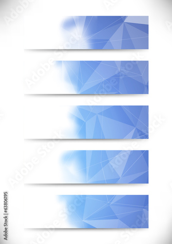 Bright blue crystal structure business cards collection