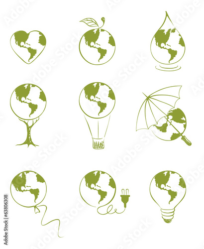 Set of illustrations - Planet Earth