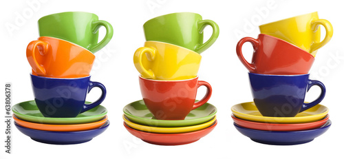 set of stack colored cups