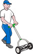 Gardener Mowing Lawn Mower Retro
