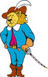 Musketeer Lion Hat Sword Cartoon