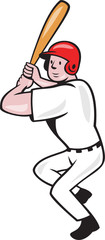 Baseball Player Batting Side Isolated Cartoon