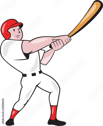Baseball Player Swinging Bat Cartoon
