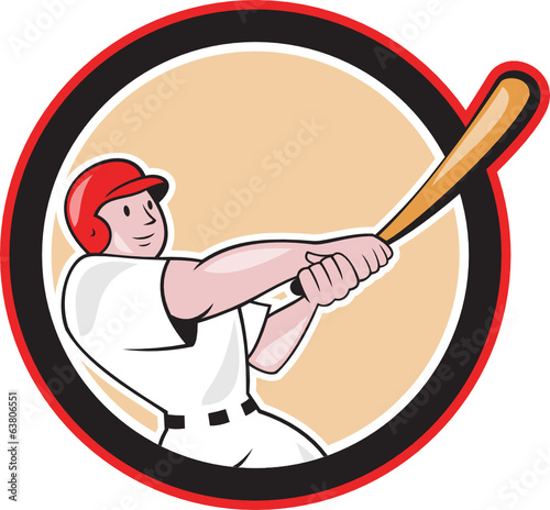 Baseball Player Batting Circle Cartoon