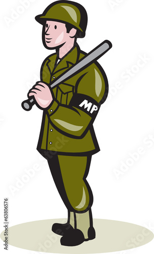 Military Police With Night Stick Baton Cartoon