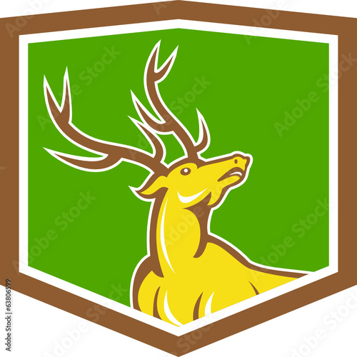 Stag Deer Looking Up Shield Cartoon
