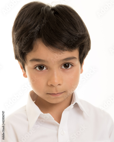 Boy against white background