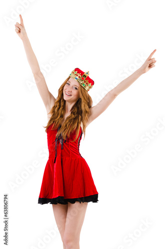 Redhead girl with crown pressing virtual buttons  isolated on wh