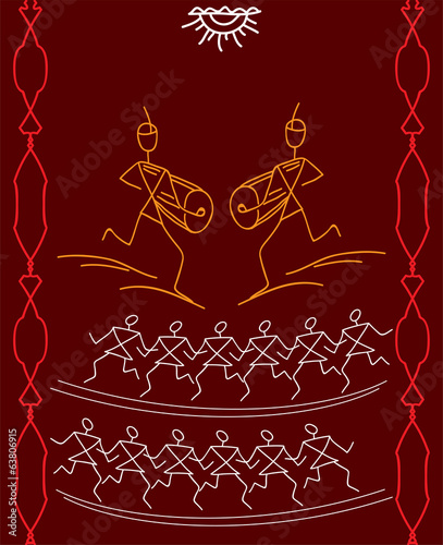 Folk, Tribal Design, Motif, Wall Painting