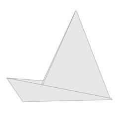 cartoon image of origami ship