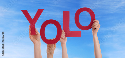 Hands Holding Yolo in the Sky