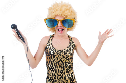 Funny singer   woman with mic and sunglasses  isolated on white