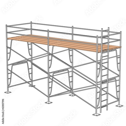 cartoon illustration of construction scaffolding