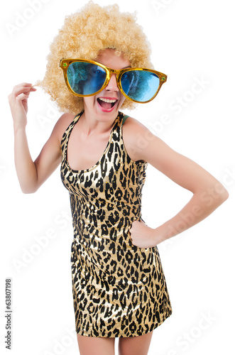 Funny pretty woman in sunglasses isolated on white