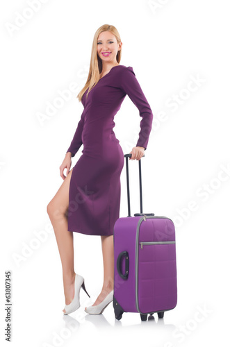 Blonde preparing for vacation with suitcase isolated on white