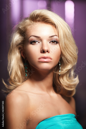 Face of a beautiful young woman. Portrait of fashionable modern