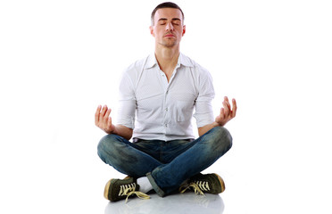 Man in casual cloth sitting in the lotus position
