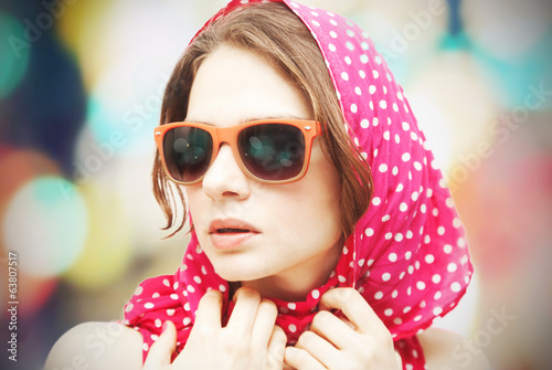 beautiful young woman in sunglasses