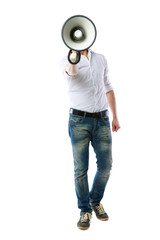 Full length portrait of a man with megaphone