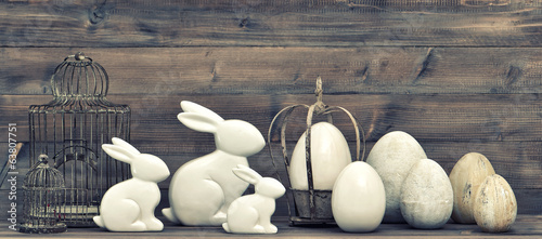 easter eggs and bunnies. vintage style decoration