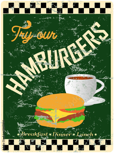 retro hamburger / diner sign, worn and weathered, vector eps