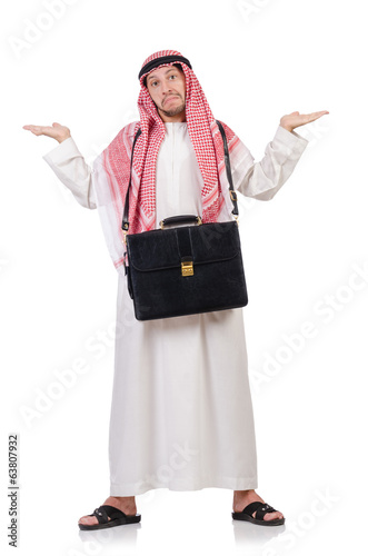 Arab man with briefcase isolated on white