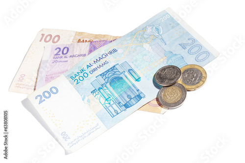Moroccan money isolated on white. Different banknotes and coins