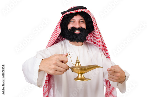 Funny arab man with lamp  isolated on white
