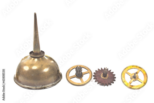 Vintage oil can dropper with cogwheels gears isolated on white