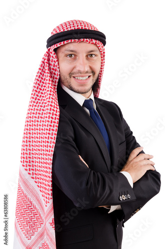 Confident arab man isolated on white