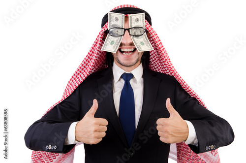 Arab businessman in eyeglasses with dollar in funny concept isol