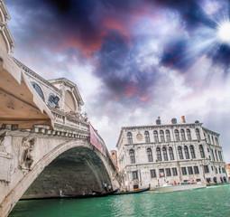 Beautiful sunset in Venice. Rialto Bridge with Grand Canal