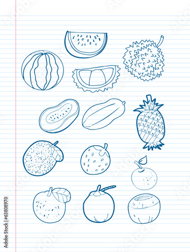 Freehand drawing fruit on a sheet