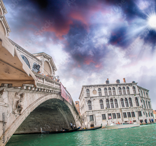 Beautiful sunset in Venice. Rialto Bridge with Grand Canal