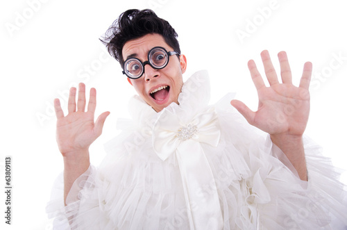 Funny man wearing in woman dress isolated on white