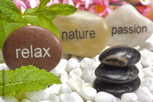 zen garden with stones of ralaxiation