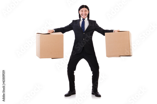 Funny man with boxes on white