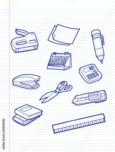 office stationery icons .