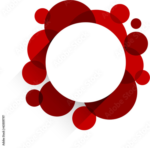 White paper label over red bubbles.