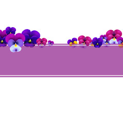 Violet Banner With Flowers